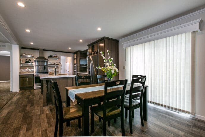 kitchen and dining room with table