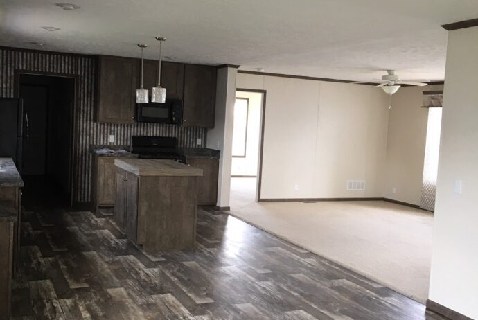 open concept living room kitchen area